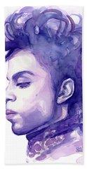 Prince Musician Watercolor Portrait Bath Towel