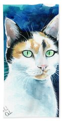 Princess - Calico Cat Portrait Bath Towel