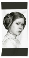 Princess Leia Watercolor Portrait Bath Towel