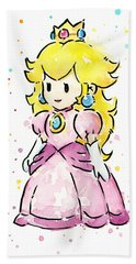 Princess Peach Watercolor Hand Towel