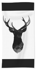 Gray Deer Art, Print Gift Idea, Deer Head Illustration, Gray Deer Art Bath Towel