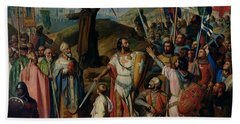 Procession Of Crusaders Around Jerusalem Hand Towel by Jean Victor Schnetz