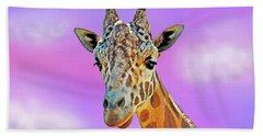 Profile Portrait Of A Giraffe IIi Bath Towel by Jim Fitzpatrick