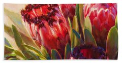 Bath Towel featuring the painting Protea - Tropical Flowers From Hawaii by Karen Whitworth