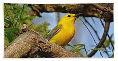 Hand Towel featuring the photograph Prothonotary Warbler II by Sandy Keeton