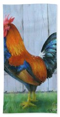 Bath Towel featuring the painting Proud Rooster by Oz Freedgood