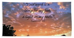 Hand Towel featuring the photograph Psalm 119 105 by Kerri Farley