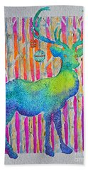 Hand Towel featuring the painting Psychedeer by Li Newton