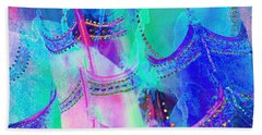 Psychedelic Blue Shoes Shopping Is Fun Abstract Square 4f Hand Towel