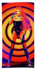 Psychedelic Hypnotic Pin-up Girl Hand Towel