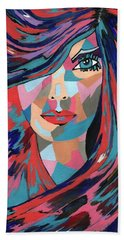 Bath Towel featuring the painting Psychedelic Jane by Kathleen Sartoris