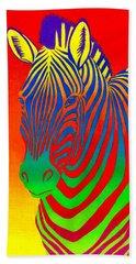 Psychedelic Rainbow Zebra Bath Towel