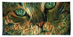 Psychedelic Tabby Cat Art Hand Towel