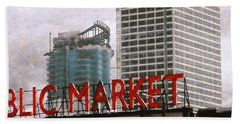 Hand Towel featuring the digital art Public Market by David Blank