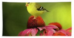 Puff Ball Of A Goldfinch  Hand Towel