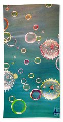 Puffer Fish Bubbles Hand Towel
