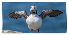 Puffin With Fish For Tea Bath Towel