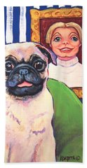 Pug - Beth Ann And Butch Bath Towel by Rebecca Korpita