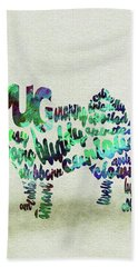 Hand Towel featuring the painting Pug Dog Watercolor Painting / Typographic Art by Inspirowl Design