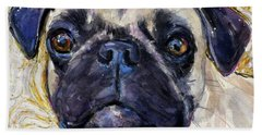 Hand Towel featuring the painting Pug Mug by Molly Poole