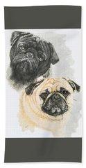 Pugs Bath Towel by Barbara Keith