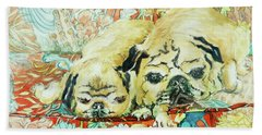 Pugs On A Chinese Print Sofa Hand Towel by Joan Thewsey