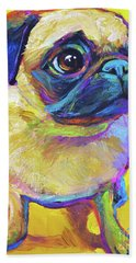 Hand Towel featuring the painting Pugsly by Robert Phelps