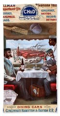 Pullman Compartment Cars Through Trains, Cincinnati, Hamilton Dayton Rail Road Advertising Poster, 1894 Hand Towel