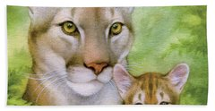 Puma And Cub Hand Towel