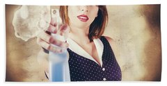 Pump Action Pin Up Woman Killing Glass Grime Hand Towel