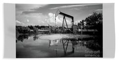 Pump Jack In Bw  Hand Towel