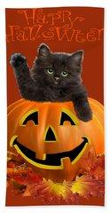 Pumpkin Kitty Hand Towel by Glenn Holbrook
