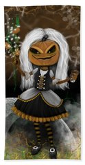 Pumpkin Spice Latte Monster Fantasy Art Bath Towel