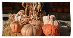 Pumpkins And Cornstalks Bath Towel