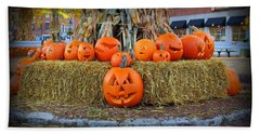 Pumpkins In Market Square Bath Towel