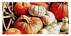 Pumpkins In The Barn Hand Towel by MaryLee Parker