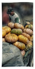 Pumpkins In The Cart  Hand Towel by Charuhas Images