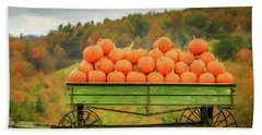 Pumpkins On A Wagon Bath Towel