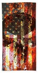 Punisher Skull On Rusted American Flag Bath Towel