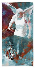 Bath Towel featuring the painting Puppet Man 003 by Gull G
