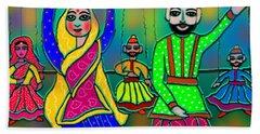Puppets Bath Towel by Latha Gokuldas Panicker