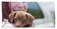 Puppy And Smiles Hand Towel