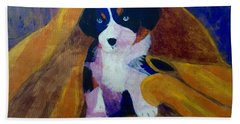 Hand Towel featuring the painting Puppy Bath by Donald J Ryker III
