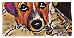 Puppy Eyes Bath Towel by Holly Martinson