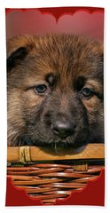 Bath Towel featuring the photograph Puppy In Red Heart by Sandy Keeton