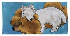 Puppy Love Hand Towel by Debra Baldwin