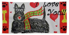Hand Towel featuring the painting Puppy Love by Diane Pape