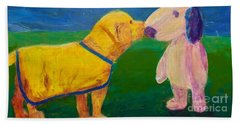 Bath Towel featuring the painting Puppy Say Hi by Donald J Ryker III