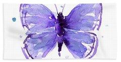 Purple Abstract Butterfly Bath Towel