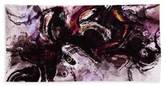 Hand Towel featuring the painting Purple Abstract Painting / Surrealist Art by Ayse Deniz